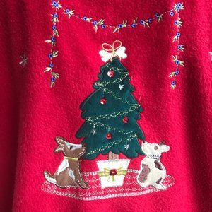 Christmas Tree Dogs Fleece Pullover Red Retro Pets